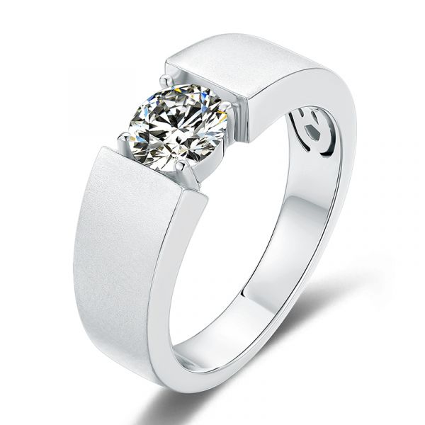 Sterling Silver Simple Design Round Cut Men's Wedding Ring