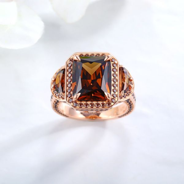 Sterling Silver Three Stone Halo Radiant Cut Chocolate Engagement Ring