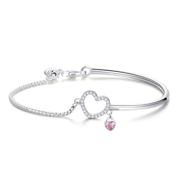Sterling Silver Classic Heart Shape Design Round And Heart Cut Bolo Bracelet
