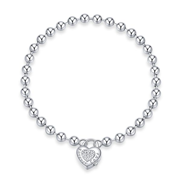 Sterling Silver Forever Love Heart Shape With Round Cut Bangle Bracelet