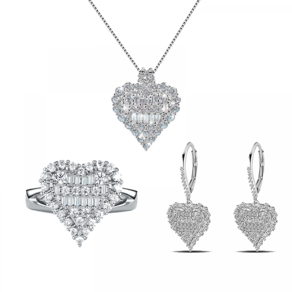 Sterling Silver Delicate Heart Shape Halo Round And Baguette Cut Jewelry Set