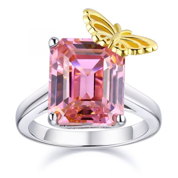 Sterling Silver Exquisite Butterfly Inspired Emerald Cut Engagement Ring