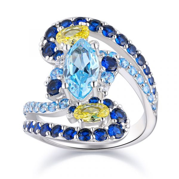 Sterling Silver The Starry Night Inspired Marquise With Round Cut Ring