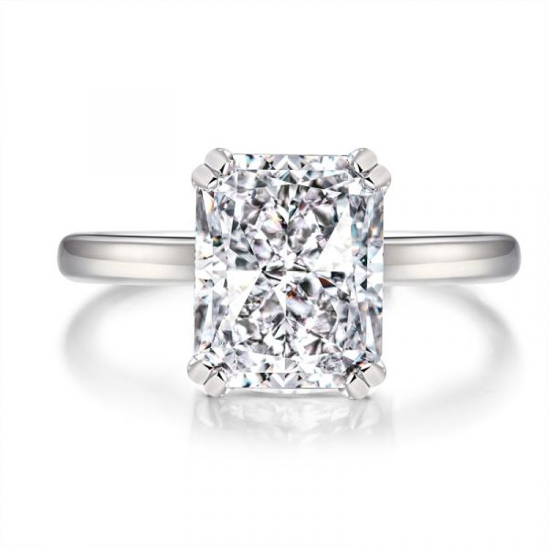 Sterling Silver Simple Hidden Halo Radiant Cut Engagement Ring