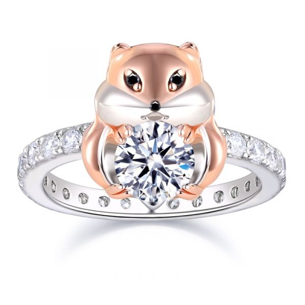 Treasure Heart Sterling Silver Hamster Baby Inspired Round Cut Engagement Ring