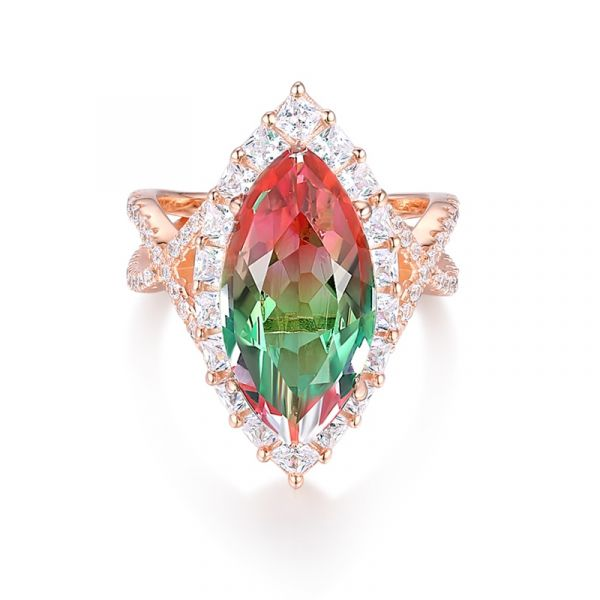 Sterling Silver Classic Twist Halo Marquise Cut  Watermelon Engagement Ring