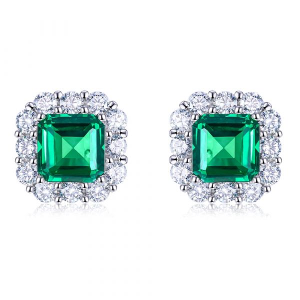 Sterling Silver Unique Halo Asscher With Round Cut Stud Earrings